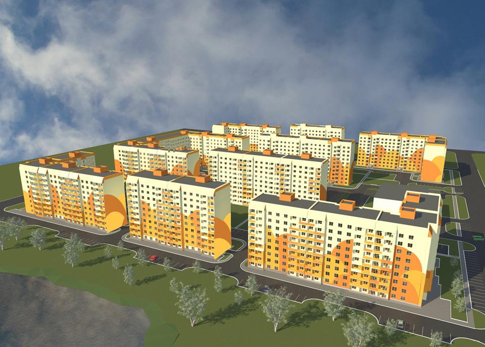 Визуализация микрорайона Луговой из рекламных материалов компании Проектстрой