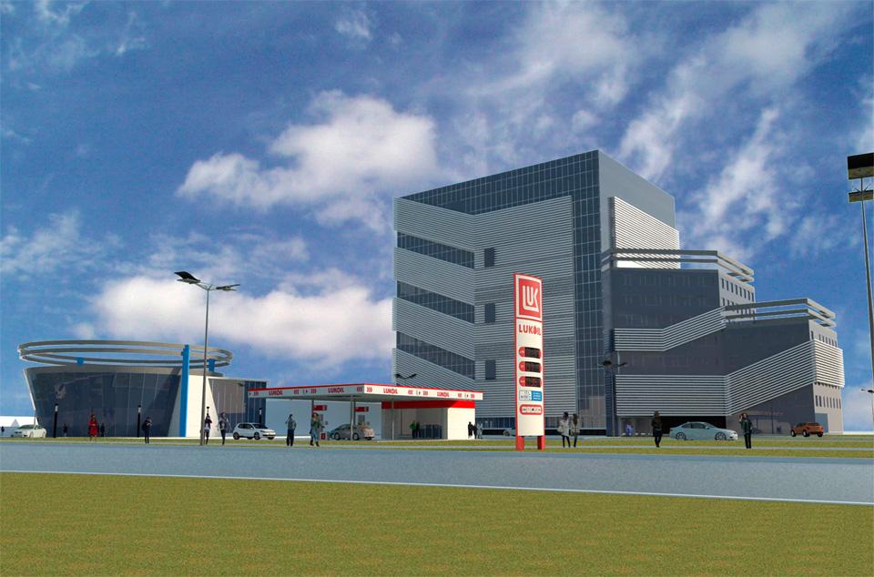 Визуализация заправки, автосалона и паркинга с сайта adm.nov.ru