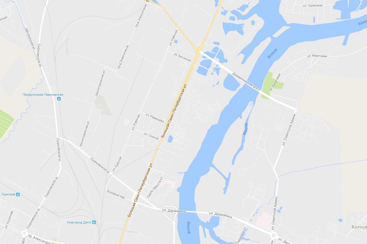 Колмово на картах Гугла