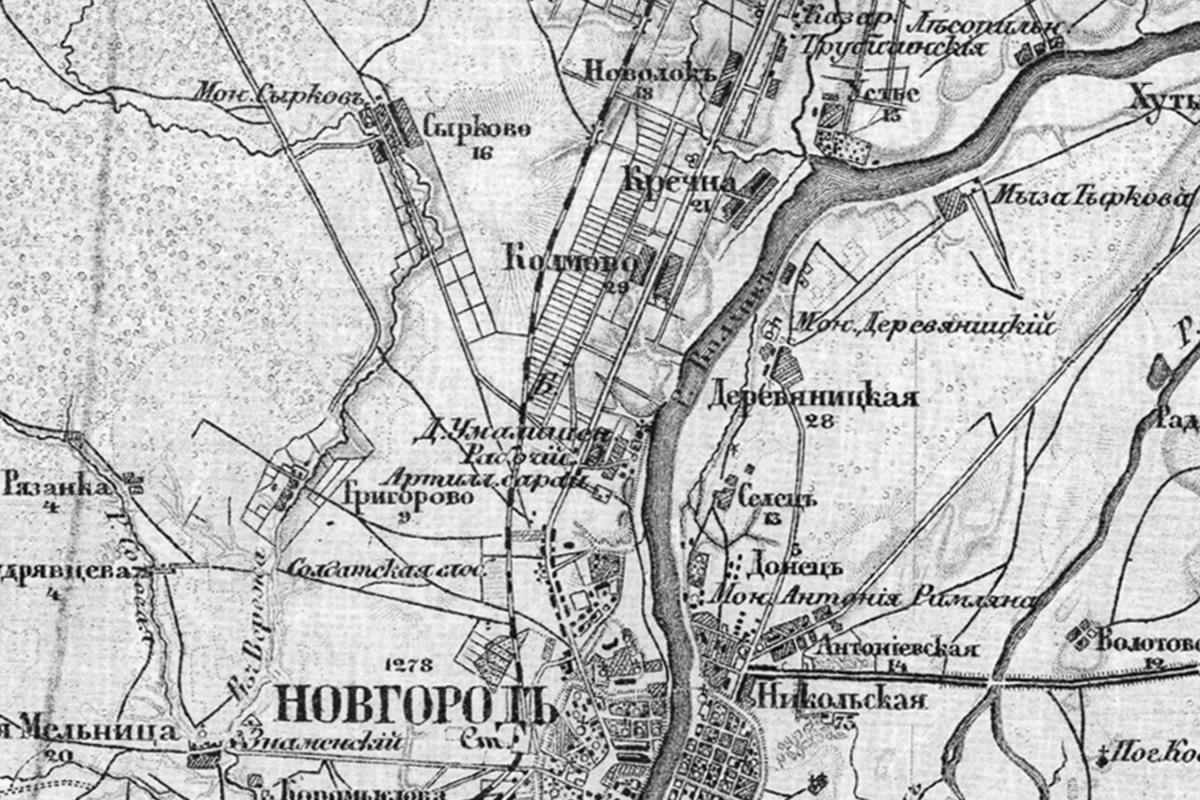 Колмово на картах 1917 года