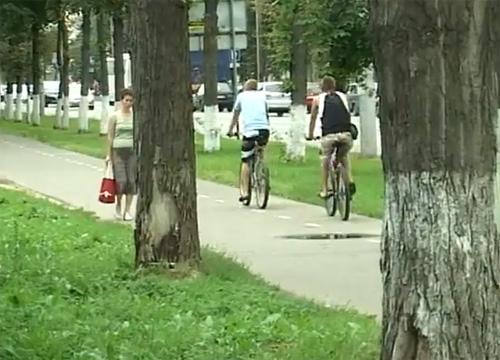 Альтернативная велодорожка используется велосипедистами