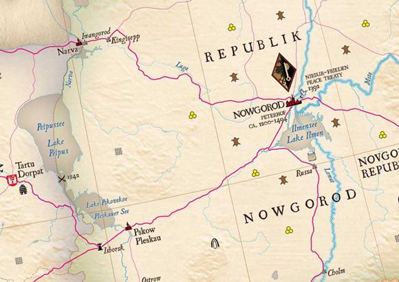 «Великий Новгород – Псков» на карте Ганзейского союза