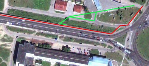 Варианты попадания (или спуска) на путепровод с площади Строителей