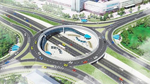 Реконструкция кольцевой транспортной развязки на площади Строителей в Великом Новгороде