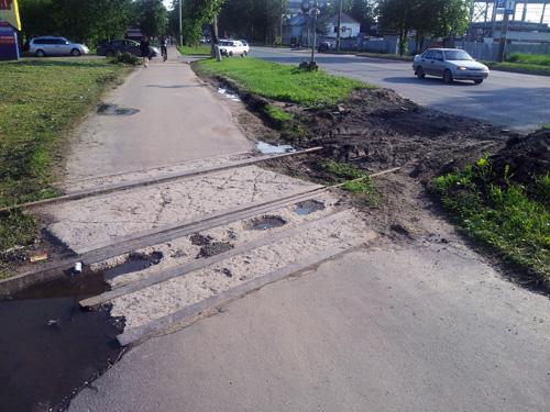 Тротуар на демонтированном ж/д переезде