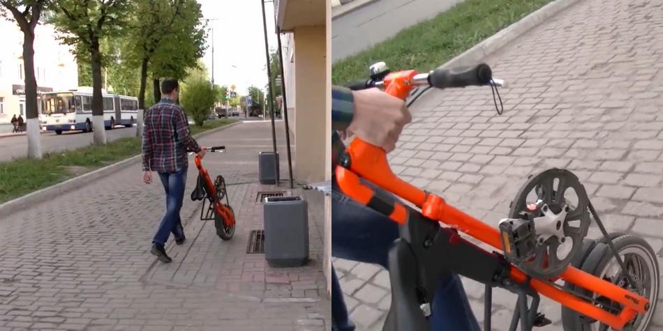 Складной велосипед в сложенном состоянии