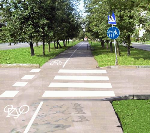 Каким должен быть проезд, пересекающий велопешеходную дорожку на проспекте Мира