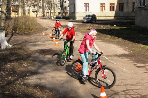 На занятии велосипедной секции
