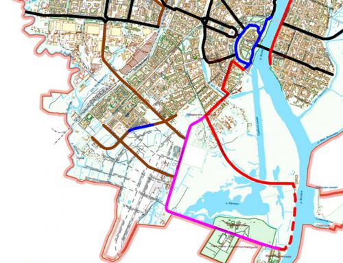 Планируемая велодорожка от «быков» вдоль Волхова отмечена красной пунктирной линией