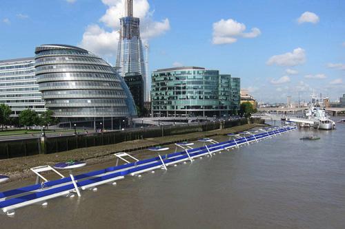 Плавучая велодорожка протянется по южному берегу Темзы на 11 километров