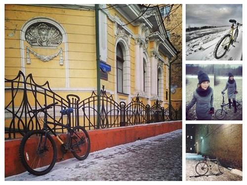 Подборка фотографий участников конкурса «Зима на велосипеде»