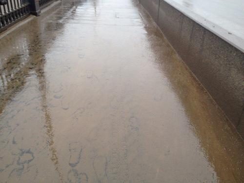 Песчаная слизь на тротуаре моста Александра Невского