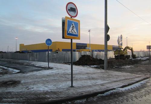 Начало велодорожки на пересечении Псковской и Луговой улиц