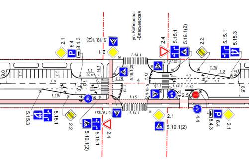 Перекрёсток с велосипедными переездами