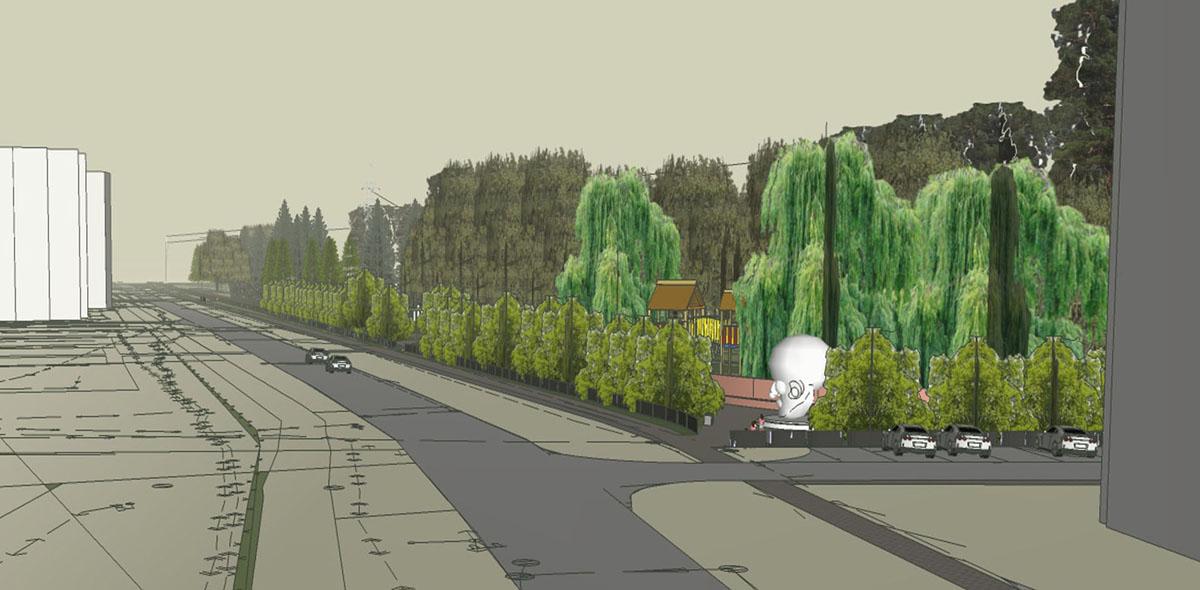 Вид на парк с улицы Коровникова