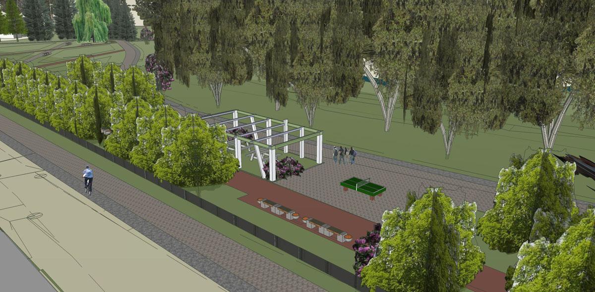 Вид на спортивную площадку и зону отдыха под перголой