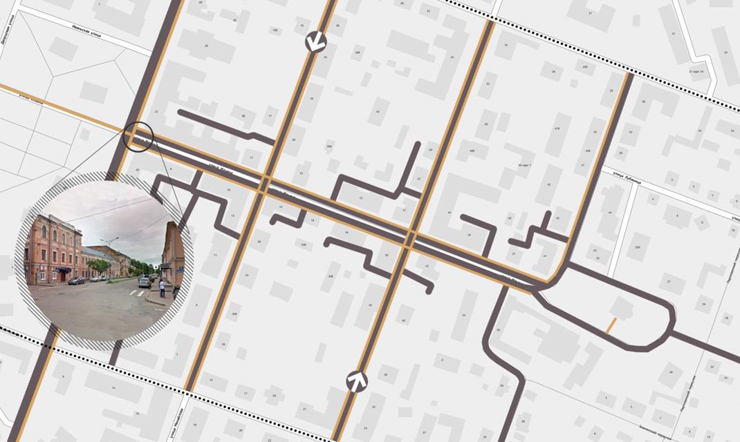 Существующая транспортная схема улицы