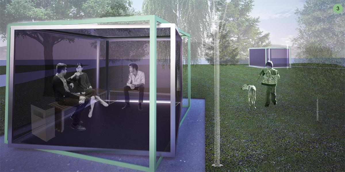 Визуализация павильоны с местами для отдыха