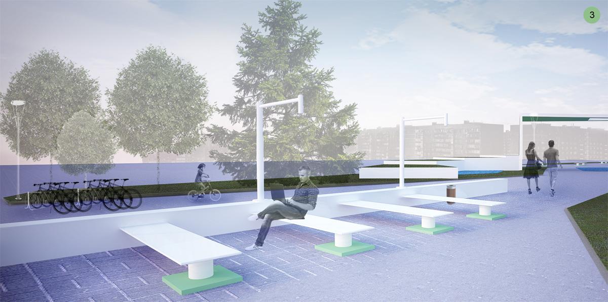 Визуализация мест отдыха рядом с павильоном