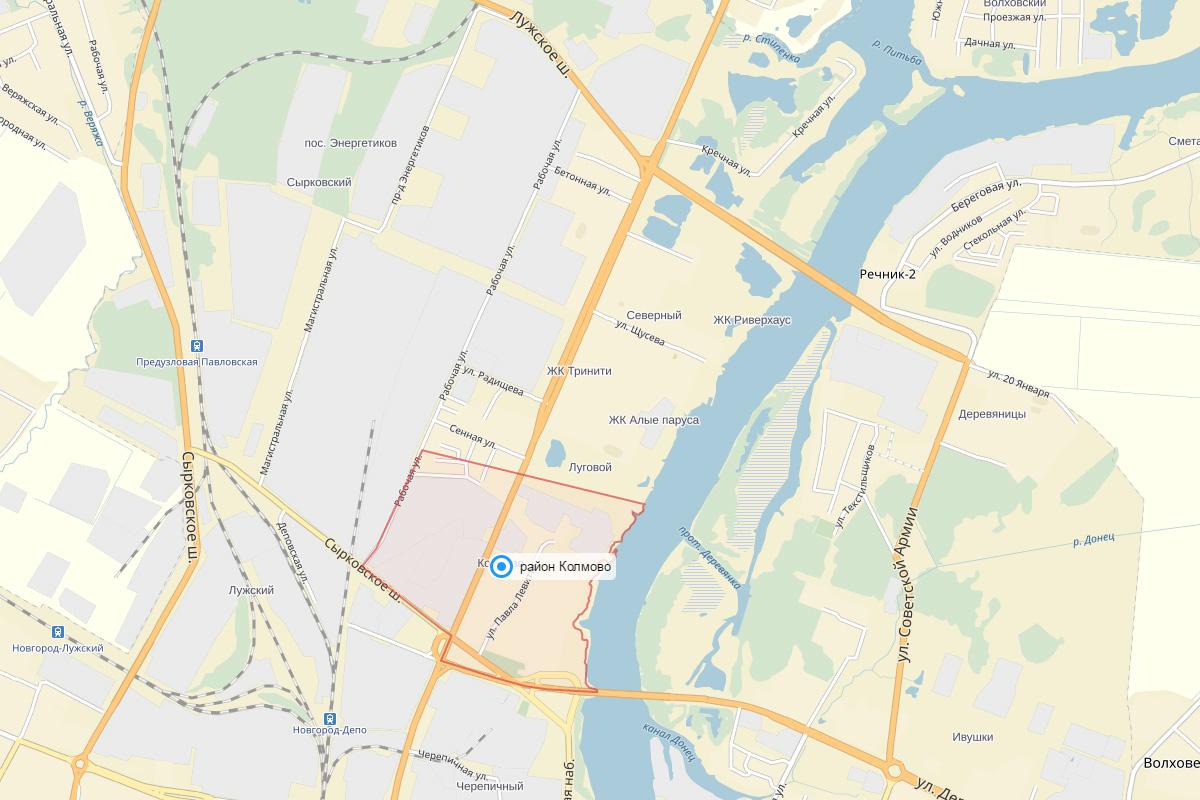 Колмово на картах Яндекса