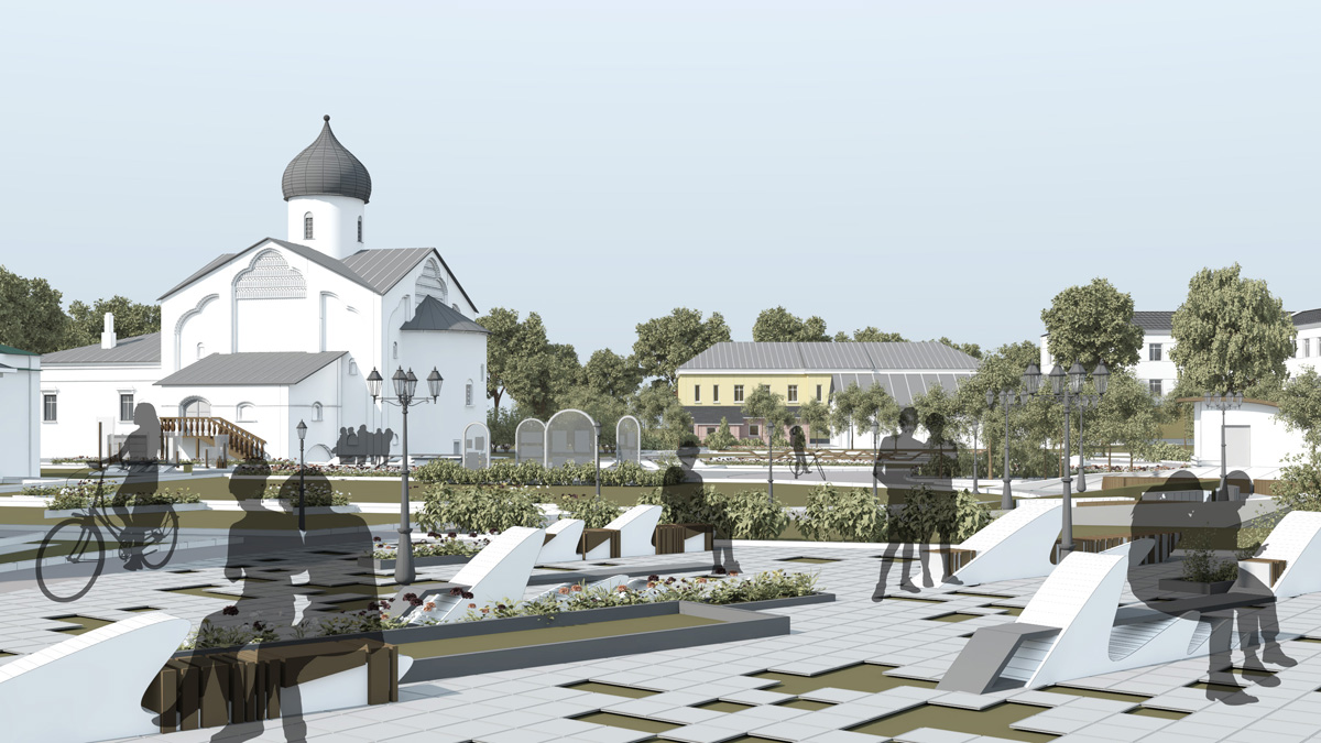 Организация среды у церкви Дмитрия Солунского