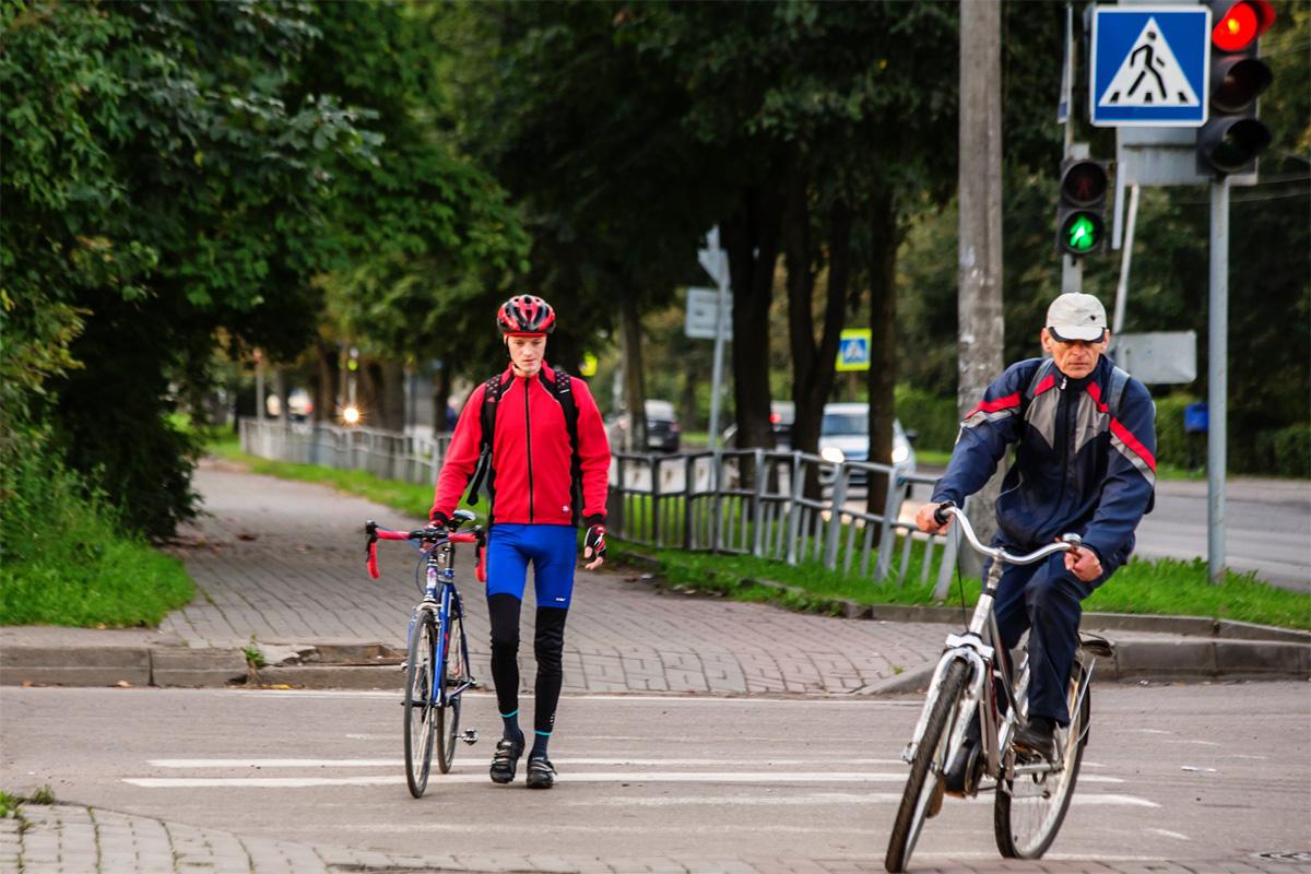 Велосипедисты на пешеходном переходе