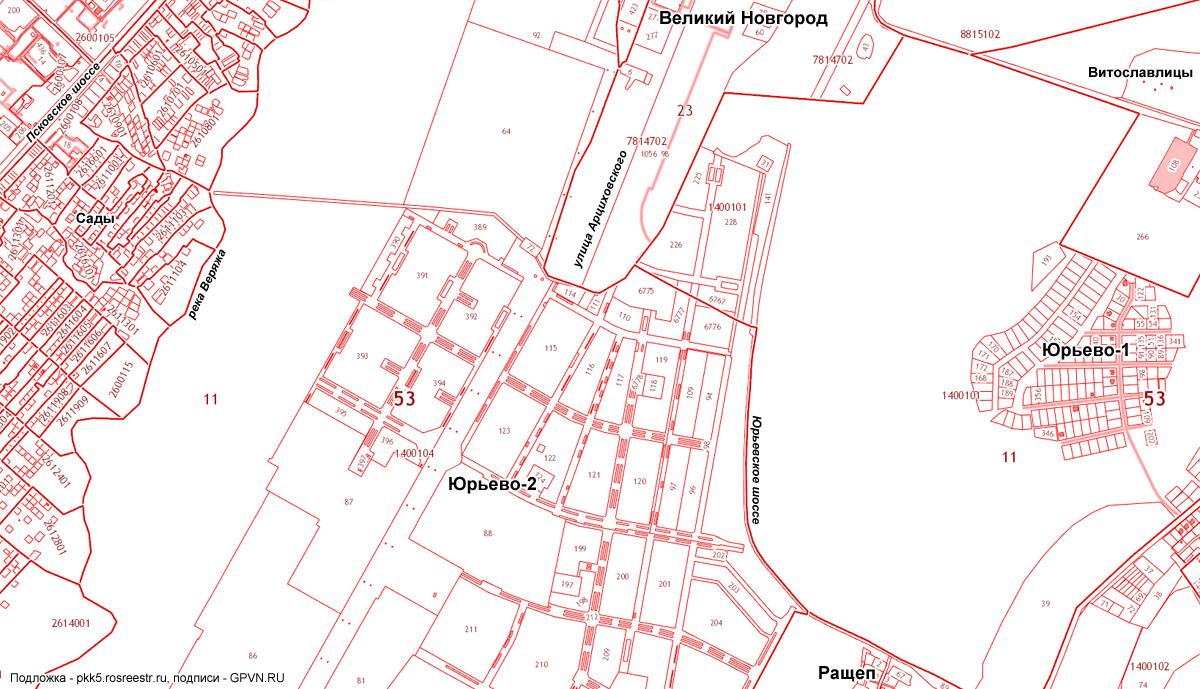 Кадастровая карта Юрьево-2