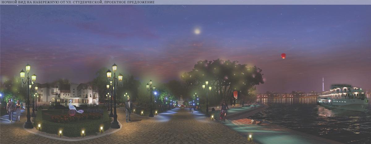 Ночной вид на набережную от Студенческой улицы