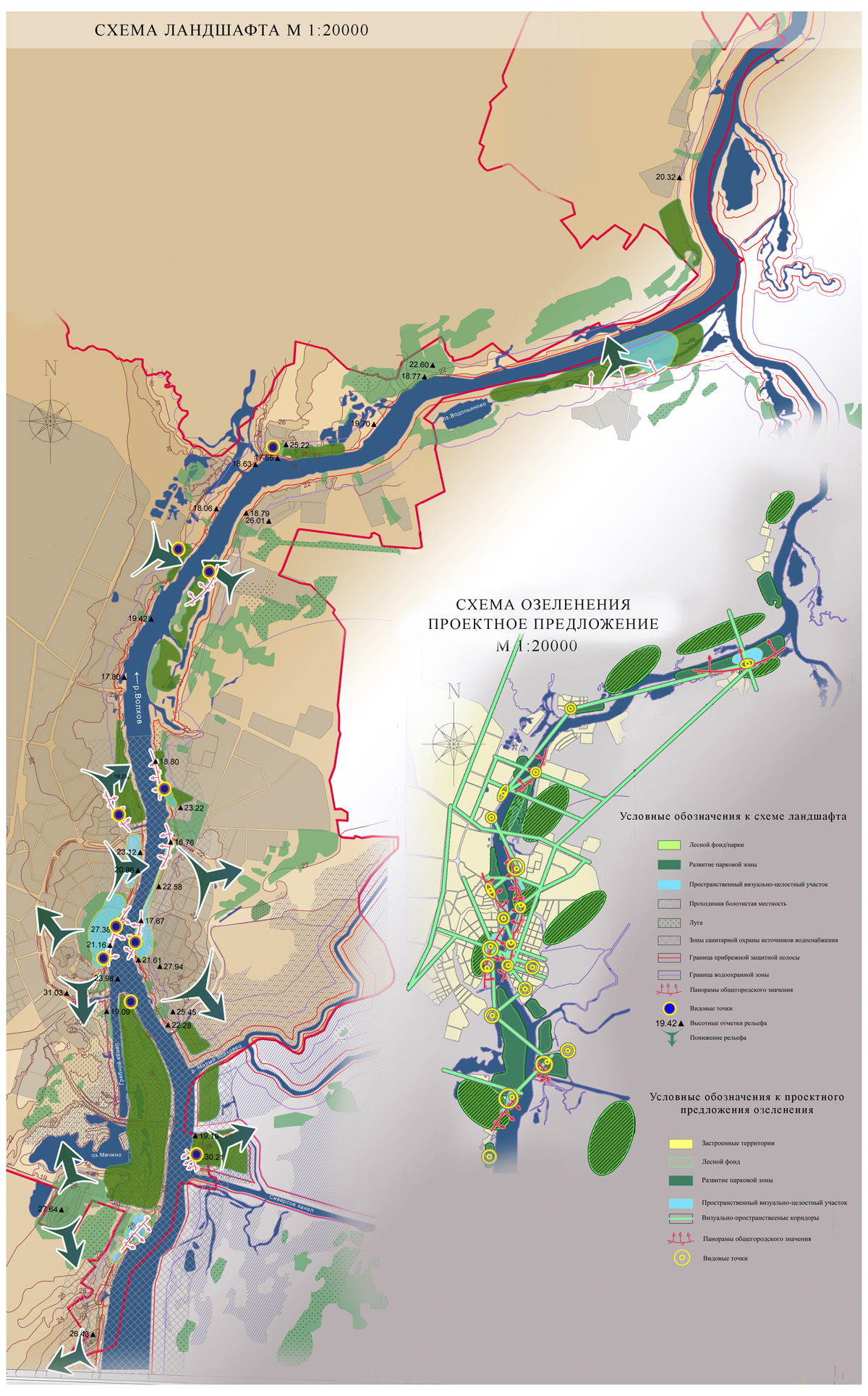 Схема ландшафта и озеленения