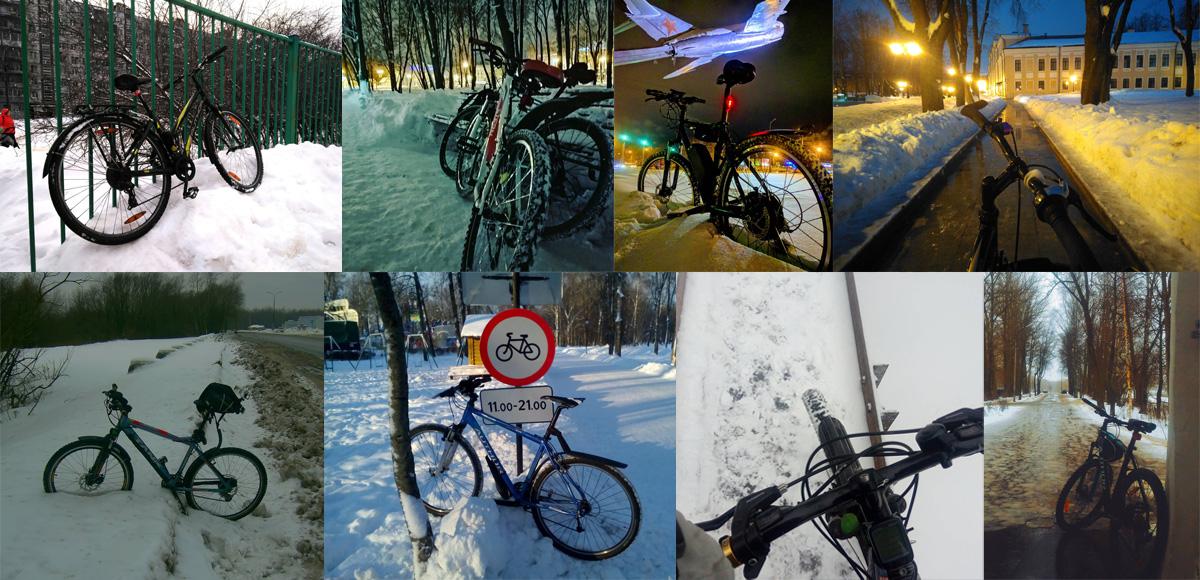 Новгородцы зимой на велосипедах