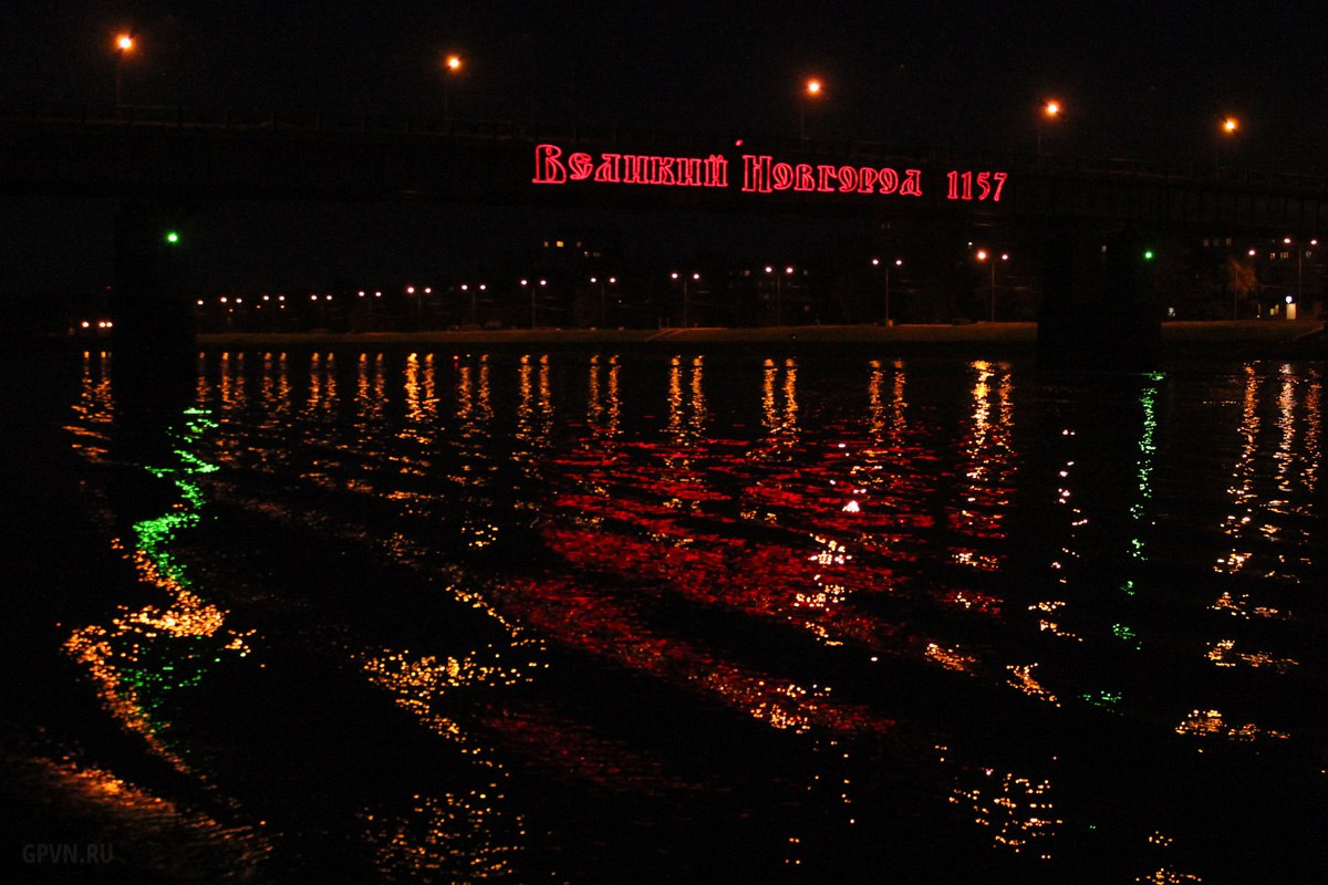 Подсветка моста Александра Невского