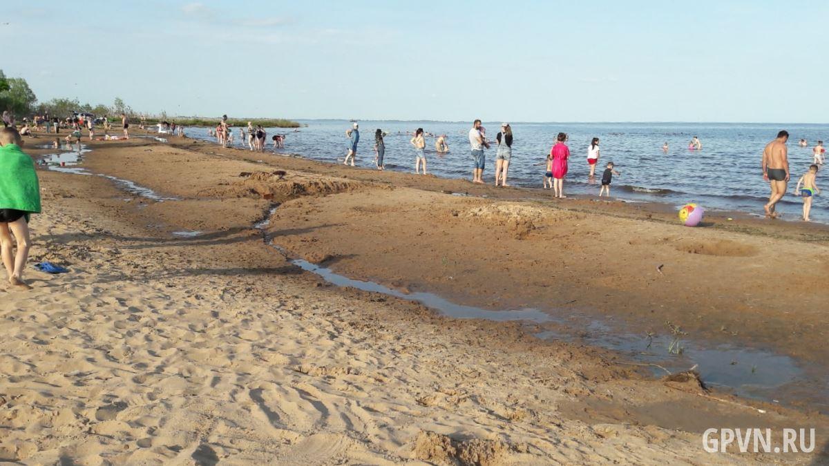 Пляж в деревне Ильмень