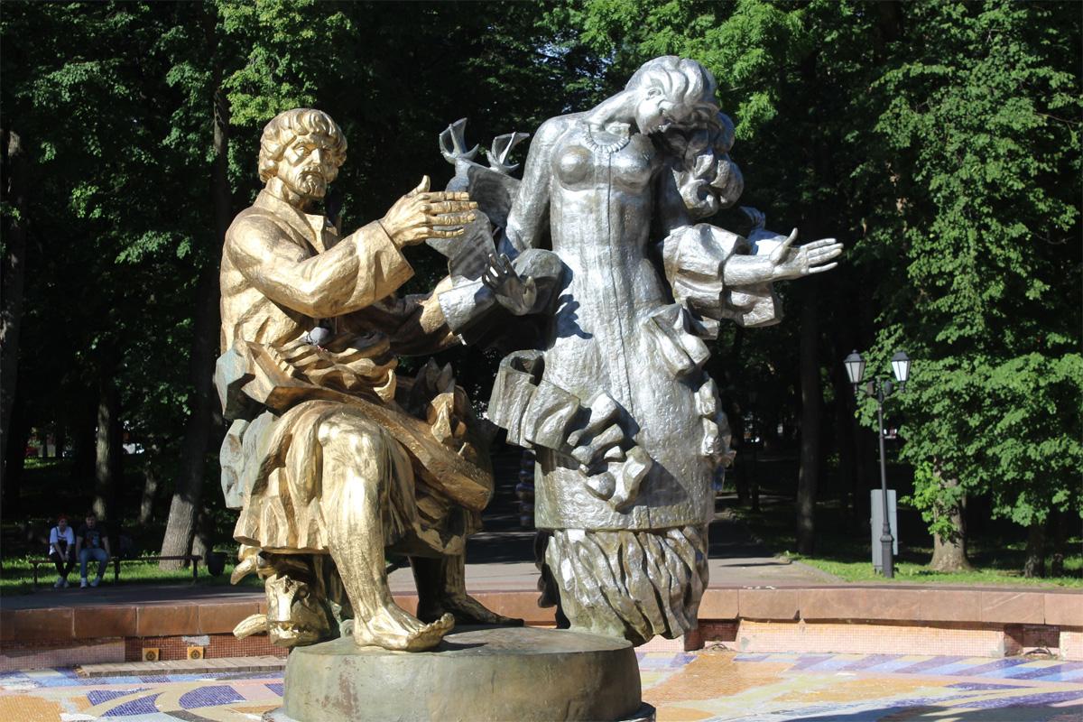 Фонтан «Садко» в Кремлёвском парке после работы вандала