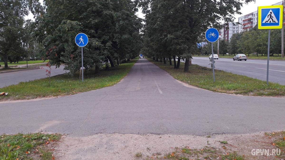Велопешеходная дорожка в начале проспекта Мира