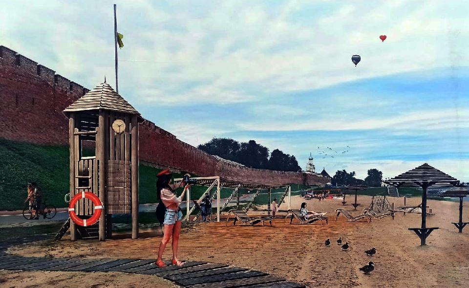Пляж на Софийской набережной