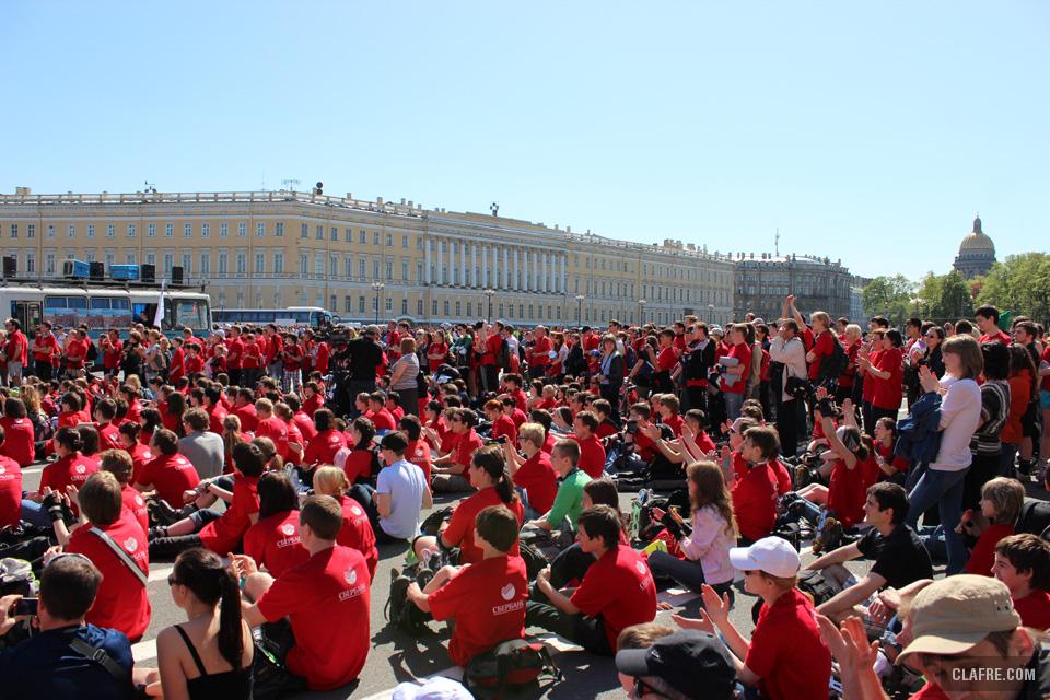 Огромное количество роллеров собралось на Дворцовой площади