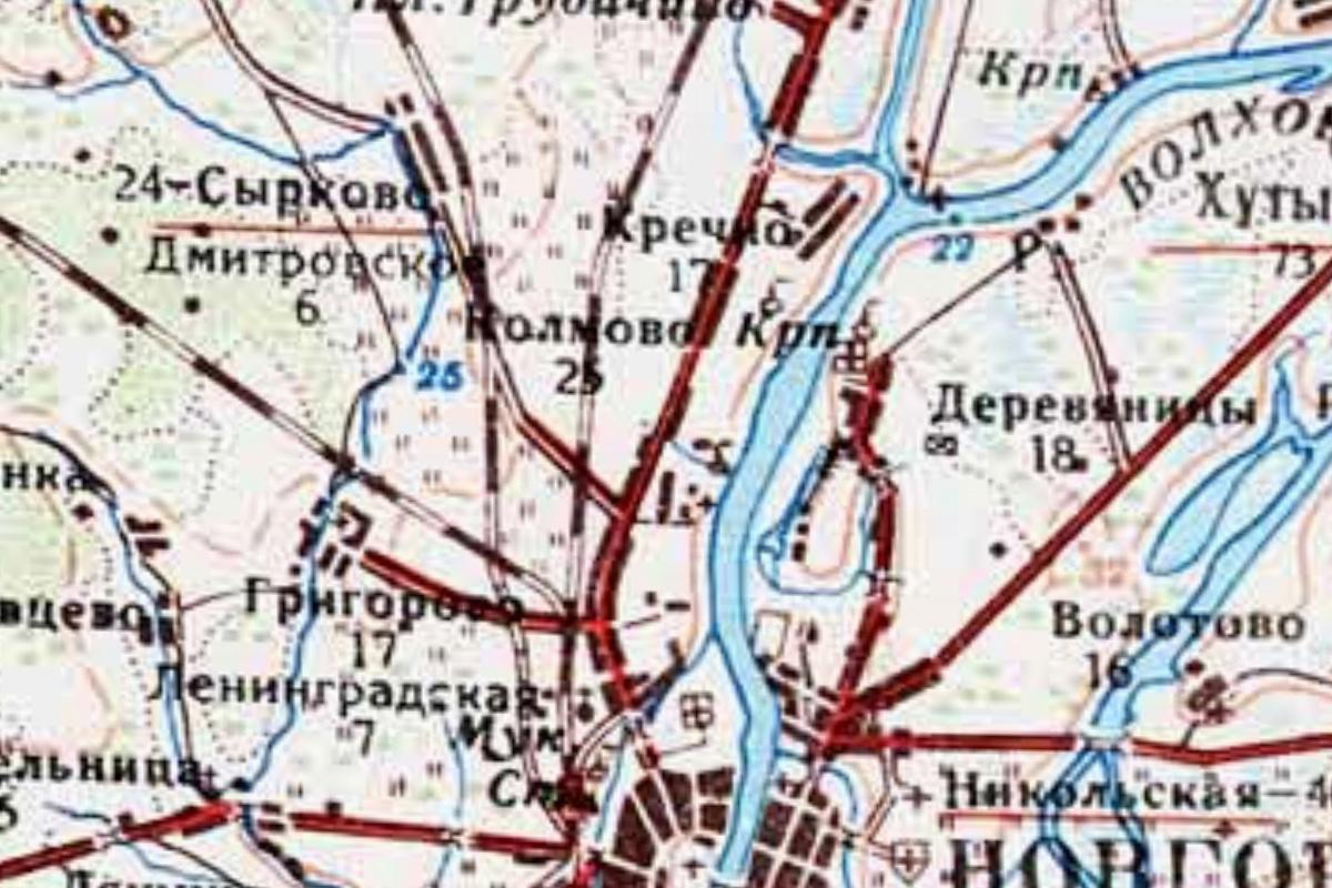 Колмово на картах середины XX века